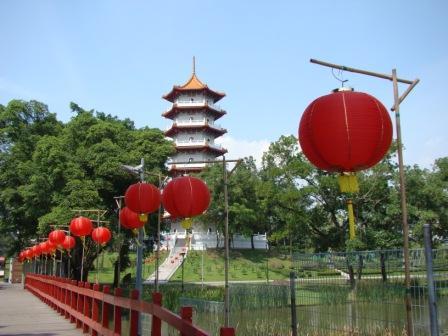 Chinese Gardens com Lanternas