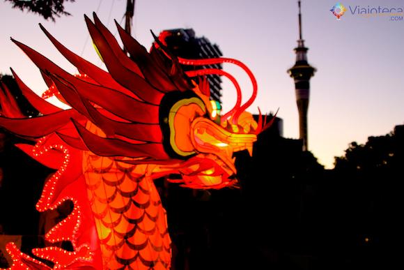Ano Novo Chinês em Auckland na Nova Zelândia