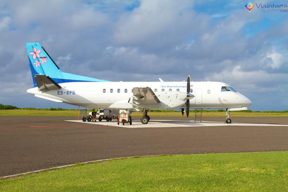 Air Rarotonga em Aitutuaki nas Ilhas Cook