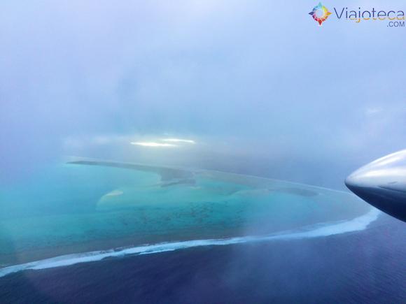 Chegando em Aitutuaki nas Ilhas Cook