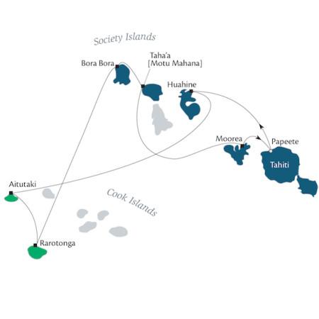 Itinerário do Cruzeiro Polinésia Francesa e Ilhas Cook com a Paul Gauguin Cruises