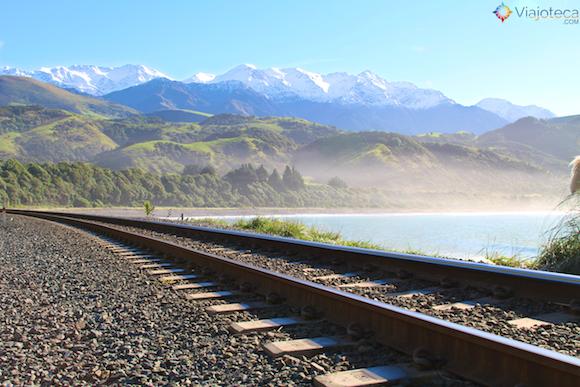 Litoral de Kaikoura na ilha Sul da Nova Zelândia