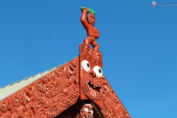 Detalhe da marae de whakarewrewa