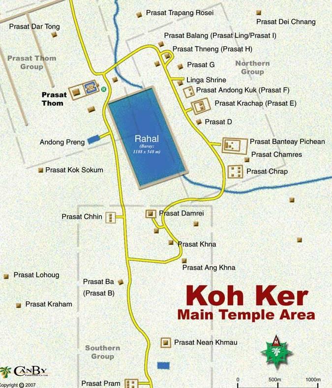 Mapa dos templos de Koh Ker