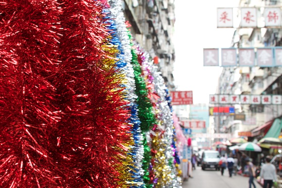 Enfeites de Natal em Sham Shui Po em Hong Kong