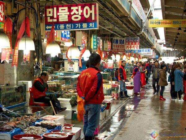 Noryangjin Fish Market em Seul na Coréia do Sul 8