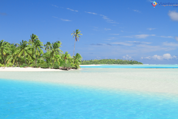 One foot island Aitutuaki nas Ilhas Cook