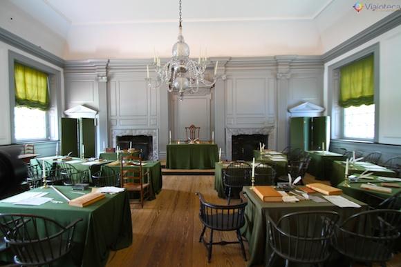 Sala onde a declaração de independencia dos EUA e a Constituição foram criadas