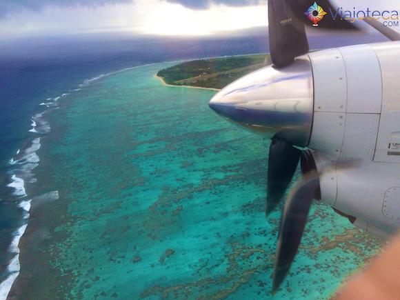 Pousando em Aitutaki nas Ilhas Cook
