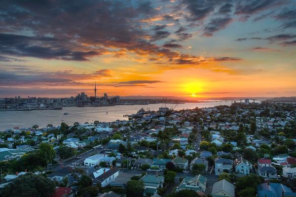 Por do Sol no Mt. Victoria em Auckland