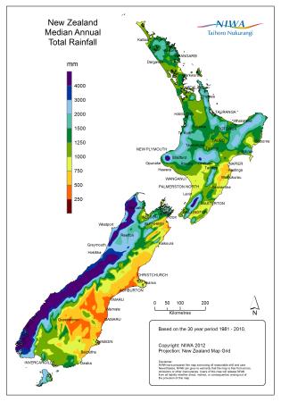 Mapa pluviométrico da Nova Zelândia
