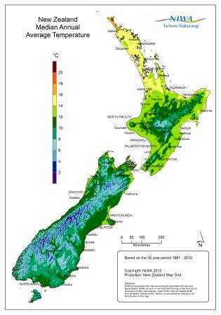 Mapa das temperaturas médias anuais