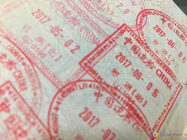Carimbos de entrada e saída na China