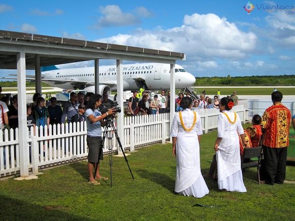 Voo Air New Zealand chegando em Niue