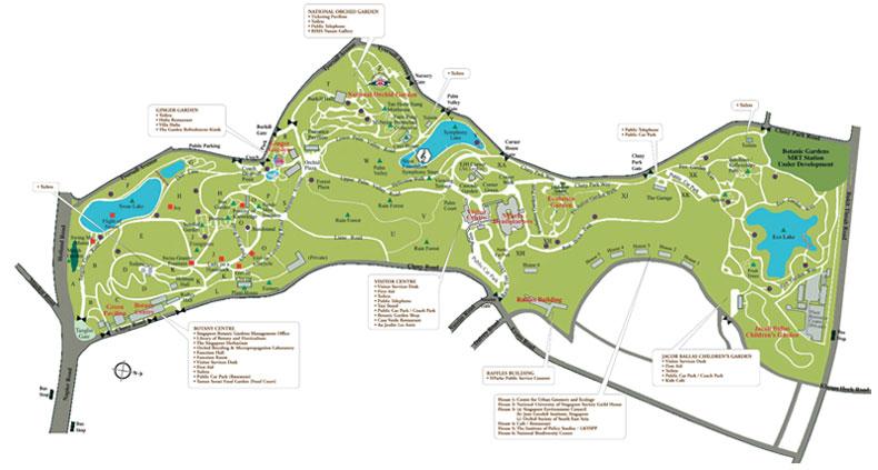 Mapa do Jardim Botanico de Singapura